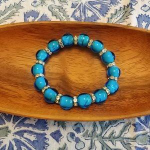 Blue bead and rhinestone bracelet